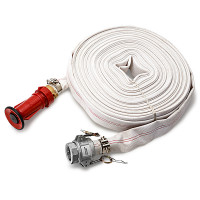 """PROTEGE Fire Fighting Hose - 36m 1.5"""" Lay Flat Canvas Camlock Adjustable Nozzle"""