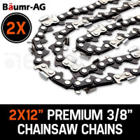 "Baumr-AG 2X 12"" Tru-Sharp 3/8 Pitch Chainsaw Chains"