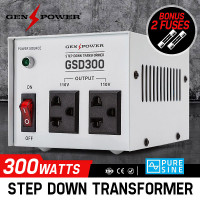 300W GENPOWER Step Down Transformer 240V-110 Stepdown Voltage Converter AU-US