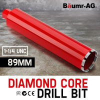 Diamond Core Drill Bit 89mm Concrete Wet Dry Tile Stone Brick Marble 1-1/4 UNC