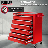 Red 6 Drawer Tool Box Cabinet with Castors