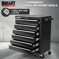 Black 6 Drawer Tool Box Cabinet with Castors