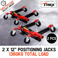 "T-REX Vehicle Positioning Jacks Hydraulic - 2 x 12"" Wheel Dolly Car Go Jack Pair"