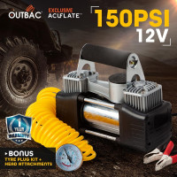 OUTBAC Portable Air Compressor 150PSI 12V Tyre Deflator - Platinum Nano Series