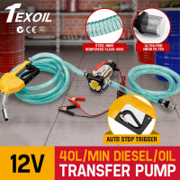TEXOIL 12V Bowser Oil Transfer Pump Auto Diesel Water Electric BioDiesel Fuel DC