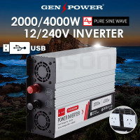 GENPOWER Pure Sine Wave 2000W/4000W 12V/240V Power Inverter Caravan Boat CarPlug