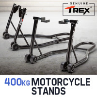 T-REX Motorcycle Stands Front & Rear Heavy-Duty Motorbike Lift Paddock Steel