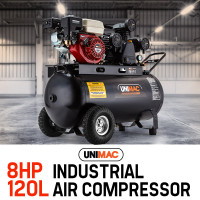 UNIMAC Industrial Petrol Air Compressor 115PSI 120L 8HP