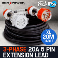 GENPOWER 20M Power Cord 3-Phase 20A Aussie Standard 5-Pin 415V Extension Lead