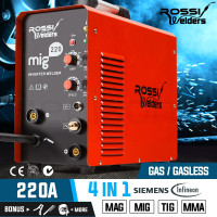 ROSSI 220Amp MIG MAG TIG MMA ARC Welder Gas Gasless Inverter Wire Portable
