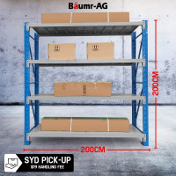 2m x 2m 900KG Metal Warehouse Racking Storage Garage Shelving Steel Shelves 4 Tier