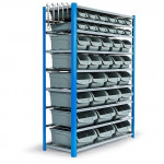 36 Parts Bin Storage Shelves Rack Shelving Tools Shelf Metal Workshop Garage