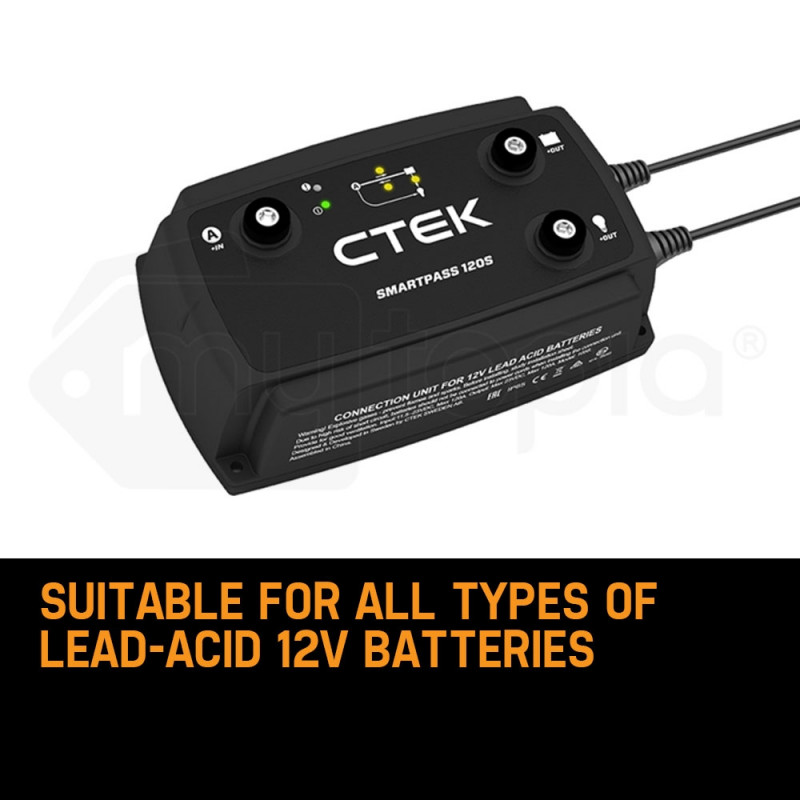 CTEK Smartpass 120S DC/DC 120A Power Management System for Charging 12V Starter and Service Batteries by CTEK