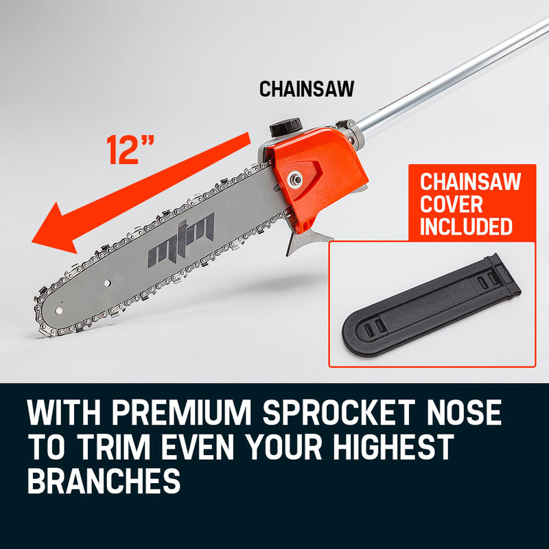 62CC Long Reach Pole Chainsaw Hedge Trimmer Pruner Chain Saw Cutter Multi Tool by MTM