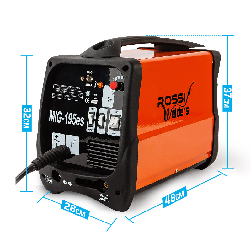 ROSSI 195Amp Welder MIG ARC MAG Welding Machine Gas / Gasless Portable 195A by Rossi