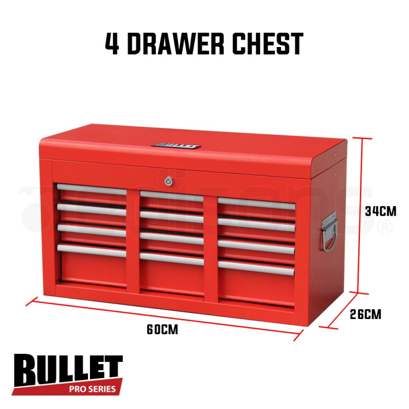 Red 478 Piece Box Chest Cabinet Tool Kit Set by Bullet Pro