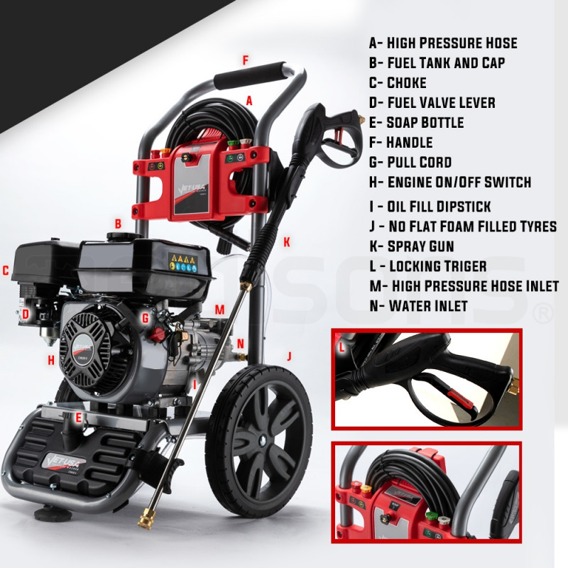 JET-USA 4800PSI Petrol Powered High Pressure Washer w/ 30m Hose and Drain Cleaner - CX630 Gen IV by Jet-USA