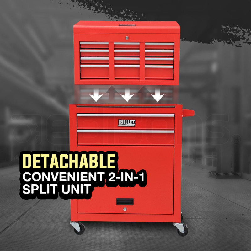 Red Box Storage Wheels Chest Cabinet Tool Kit Set  by Bullet Pro