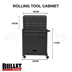 Black/Grey Box Storage Wheels Chest Cabinet Tool Kit Set  by Bullet Pro