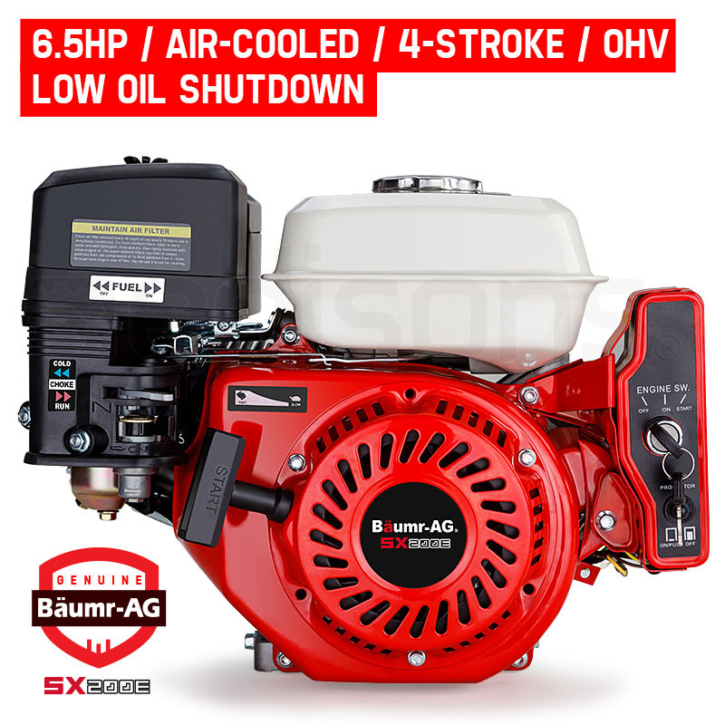 6.5HP Petrol Engine Stationary Motor OHV Horizontal Shaft Electric Start Recoil by Baumr-AG