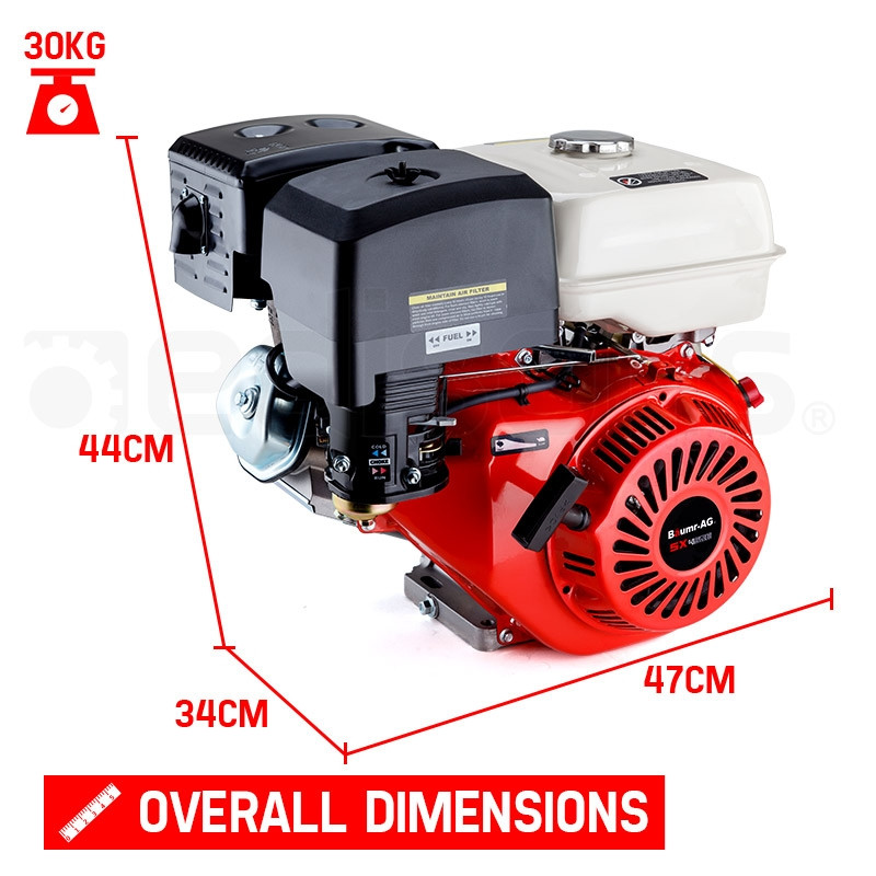 16HP Petrol Engine OHV Stationary Motor 4-Stroke Horizontal Shaft Replacement by Baumr-AG