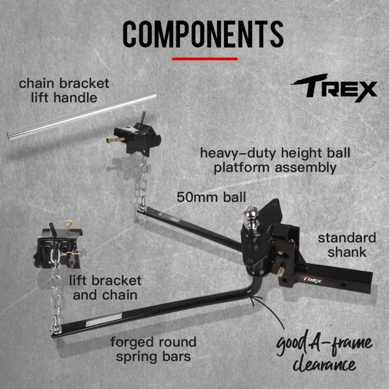 800lbs Round Bar Weight Distribution System with Hitch Ball  by T-Rex