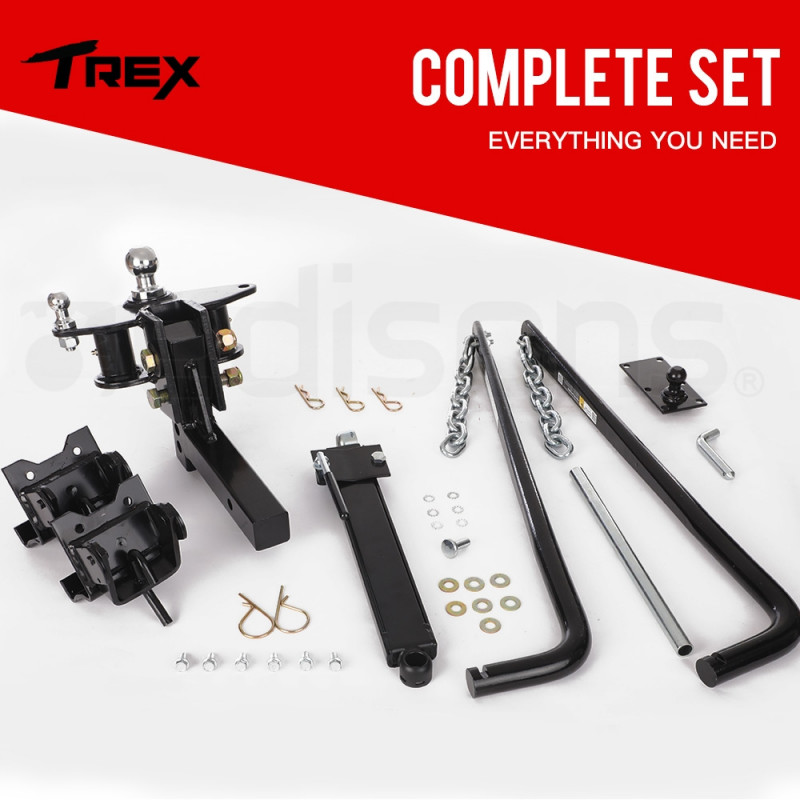 T-REX 450kg Weight Distribution Hitch System Sway Control Load Leveller Tow Bar by T-Rex