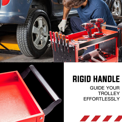 3-Tier Storage Metal Rolling Steel Trolley Cart by Bullet Pro