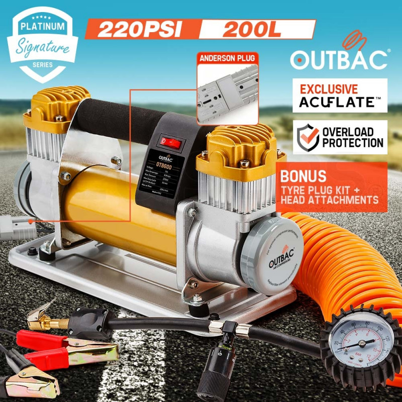 OUTBAC Portable Air Compressor 220PSI 12V 200L Tyre Deflator - Platinum Series by Outbac