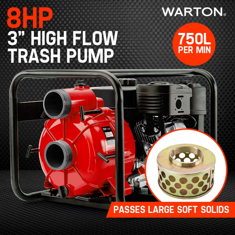 "WARTON 8HP 3"" Petrol Trash Water Transfer Pump Pressure Firefighting Irrigation by Warton"