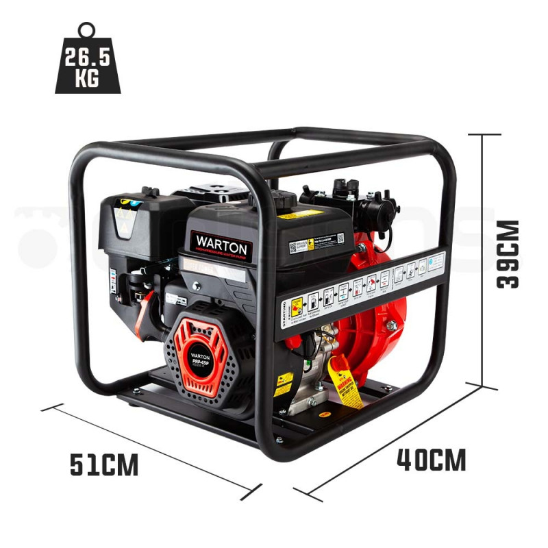 WARTON Petrol High Pressure Water Pump 8HP 4 Outlet for Irrigation and Fire Fighting - PRP-45P by Warton